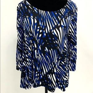 Dana Buchman blue & white 3/4 sleeve printed tunic